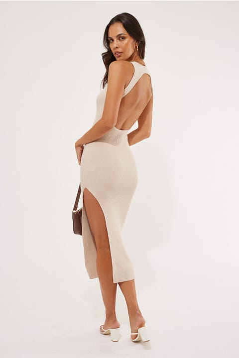 Perfect Stranger No Love Knit Midi Dress Taupe