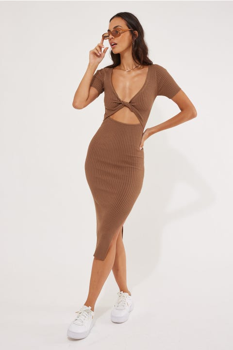 Perfect Stranger Leni Two-Way Midi Dress Mocha