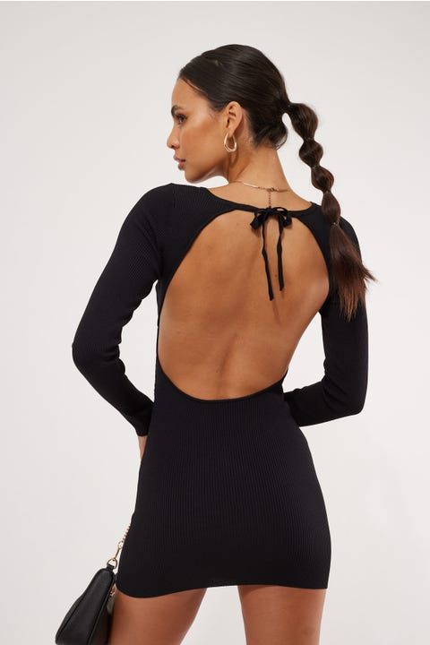 Perfect Stranger York Tie Back Knit Dress Black