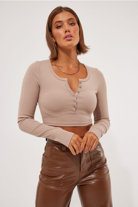 L&t Say It Long Sleeve Top Taupe