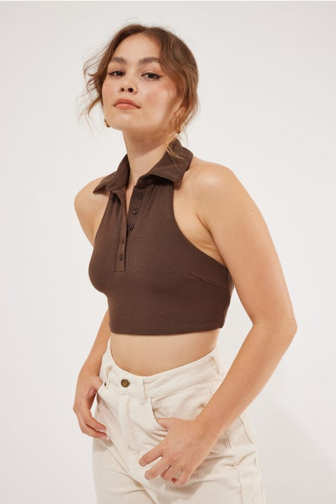 Luck & Trouble Halter Neck Collared Crop Brown