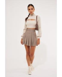 Luck & Trouble Estate Check Mini Skirt Brown Check