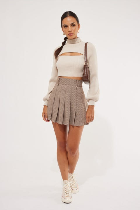 Luck & Trouble Estate Check Mini Skirt Brown Check