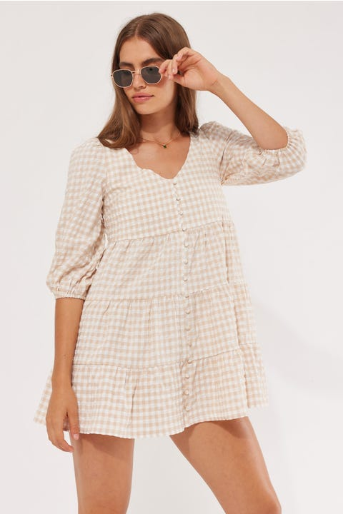 Luck & Trouble Long Sleeve Smock Dress Nude Check