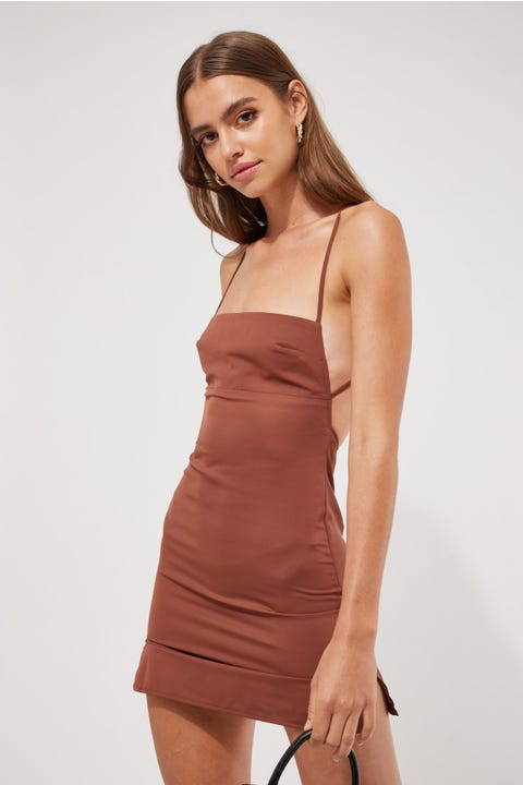 Luck & Trouble Salty Satin Mini Dress Chocolate