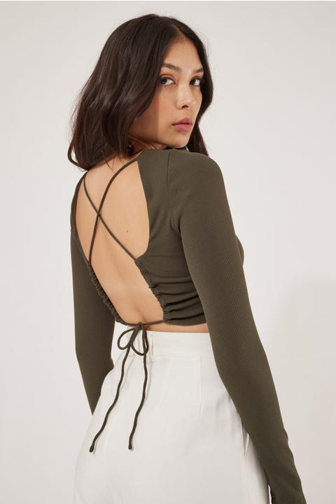 Luck & Trouble Wishlist Lace Up Back Top Khaki