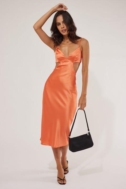Perfect Stranger Reality Check Midi Dress Orange
