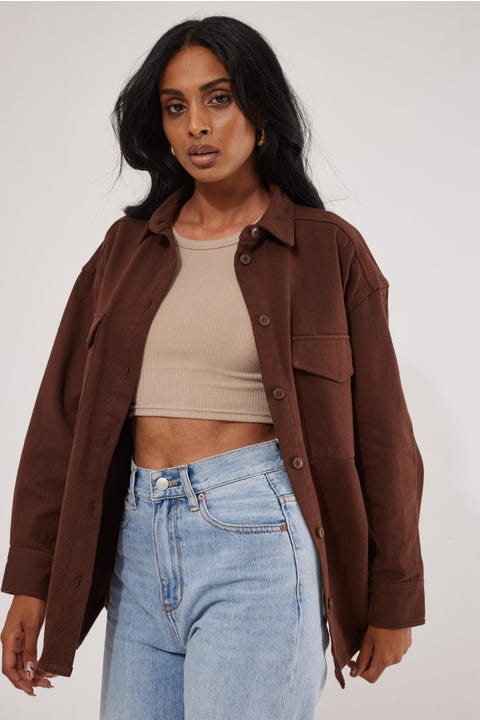 Luck & Trouble Drill Overshirt Brown