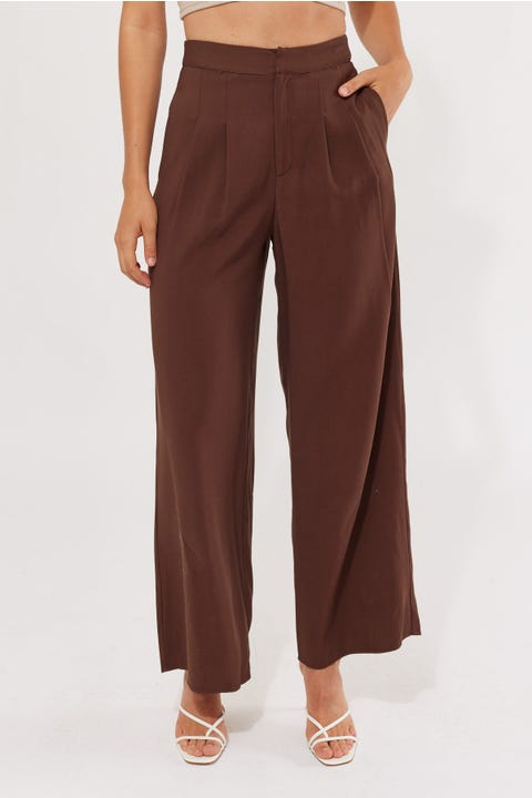 Perfect Stranger Double Pleat Pant Brown