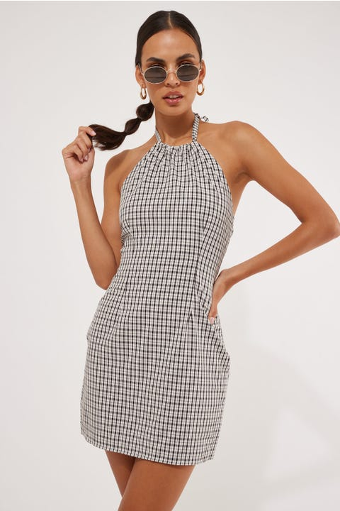 Perfect Stranger Halter Neck Mini Dress White Check