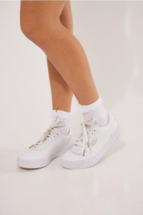 Token Lace Trim Socks White