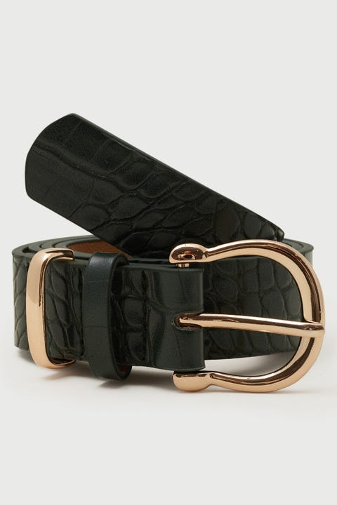 Token Mia Croc Belt Dark Green/Gold