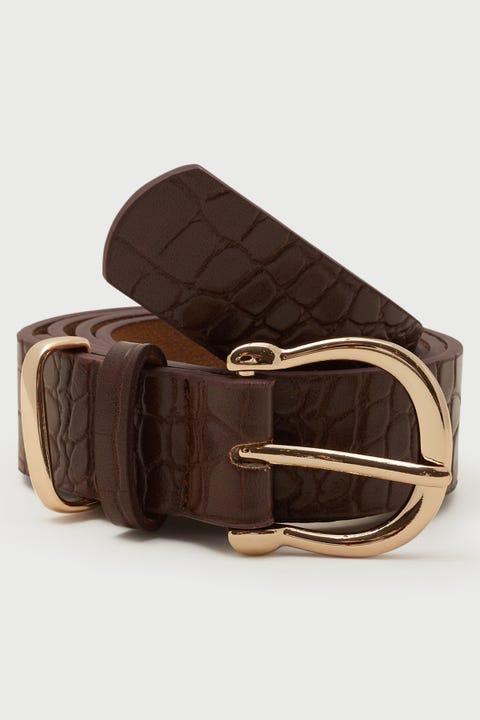 Token Mia Croc Belt Brown/Gold