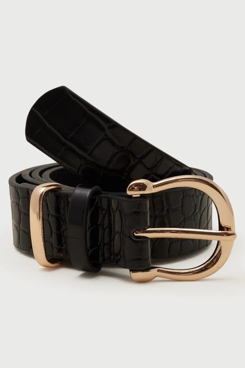 Token Mia Croc Belt Black/Gold