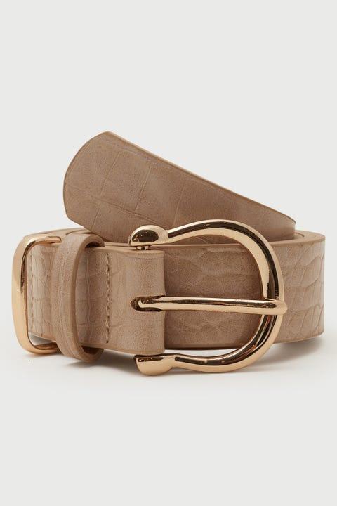 Token Mia Croc Belt Nude/Gold