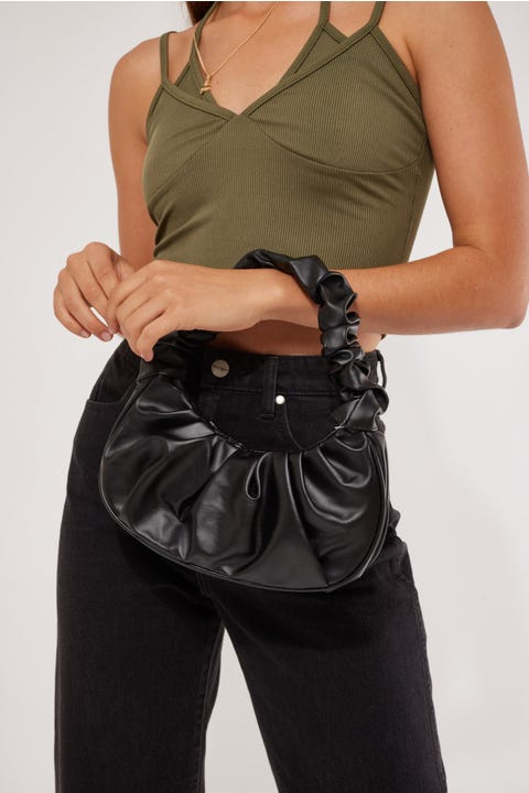 Token Scrunchie Bag Black