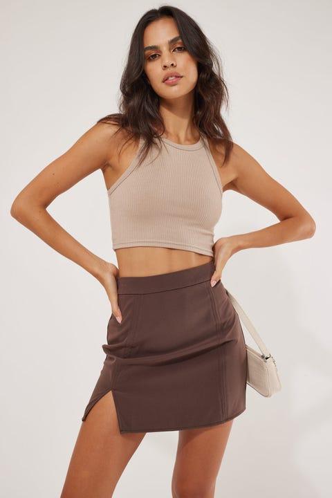 Perfect Stranger Lula Mini Skirt Brown