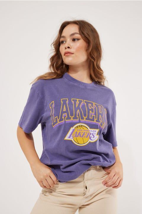 Mitchell & Ness Lakers Vintage Keyline Logo Tee Faded Purple