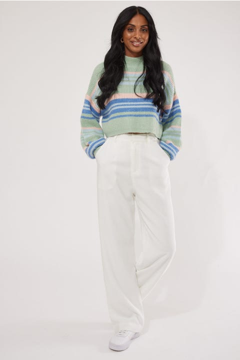 Luck & Trouble Salvador Stripe Knit Green Print