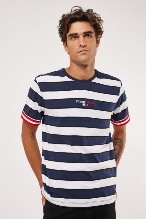Tommy Jeans TJM Small Text Stripe Tee Twilight Navy