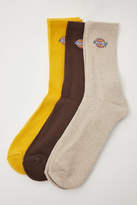 Dickies HS Rockwood 3 Pack Crew Socks Gold/Tobacco/Oat Marle