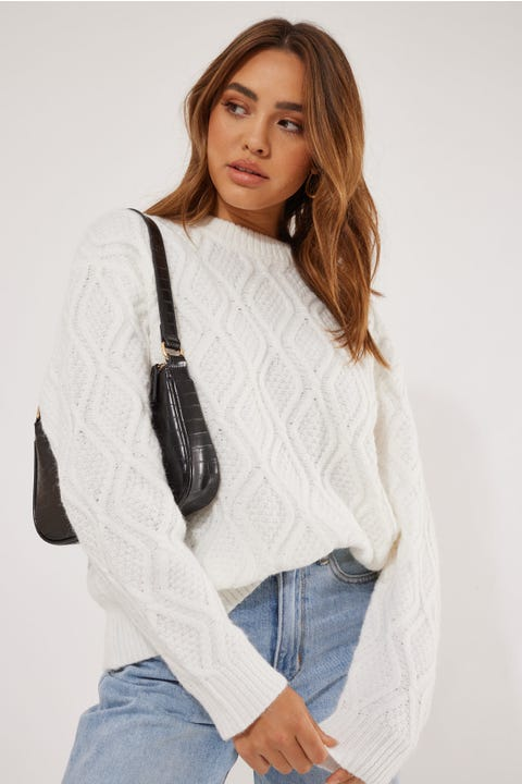 Perfect Stranger Oversized Cable Knit White