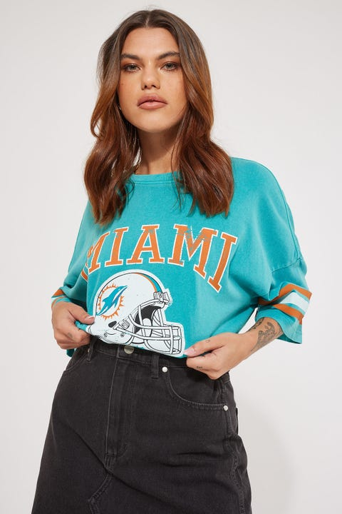 Majestic Athletic NFL Stripe Sleeve OS Tee Faded Teal