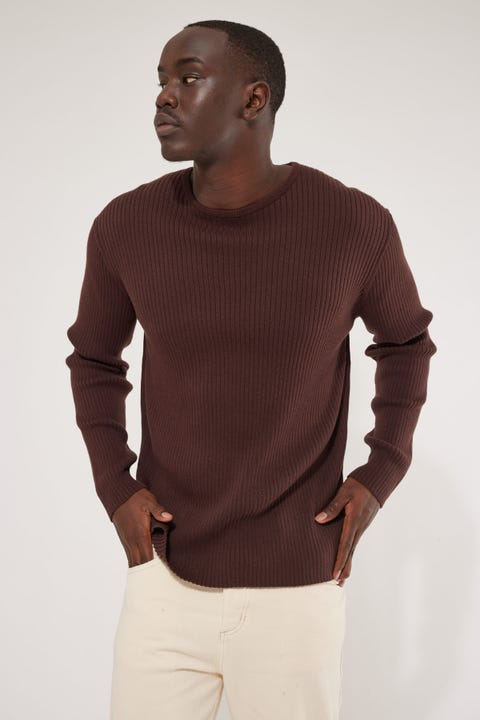 Common Need Antonio Knit Long Sleeve Tee Chocolate Brown