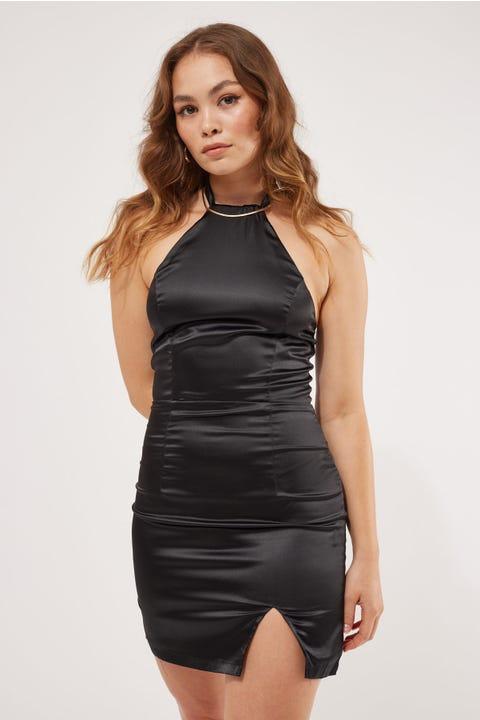 Luvalot Clothing Knot Tie Halter Dress Black