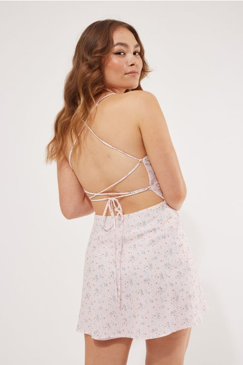 Luvalot Clothing Lace Up Back Floral Dress Pink Floral