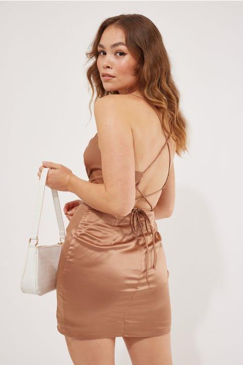 Luvalot Clothing Cross Back Mini Dress Chocolate
