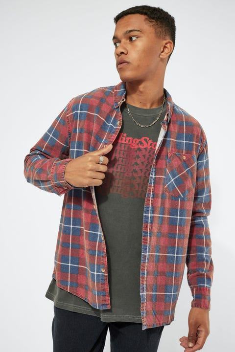 Rolla's Tradie Check Shirt Faded Blue Red
