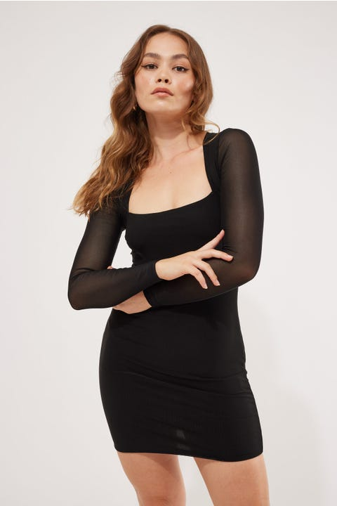Luvalot Clothing Brooke Longsleeve Mini Dress Black