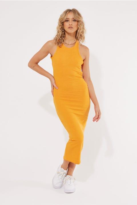Lioness The Clare Midi Dress Orange