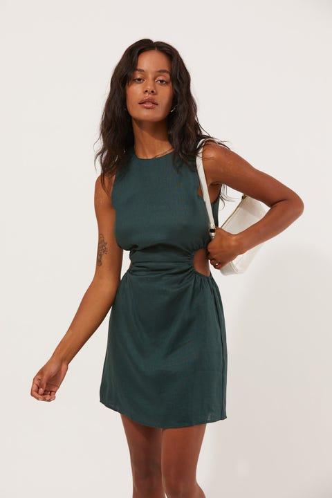 Lioness Straight Shooter Mini Dress Forest Green