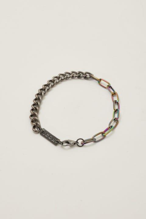 Icon Brand Mixed Up Chain Bracelet Gunmetal/Iridescent
