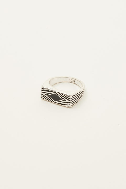 Icon Brand Deco Nuance Enamel Ring Silver