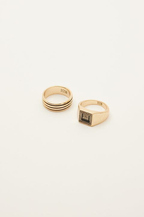 Icon Brand Deco Nuance Patterned Ring Set Gold