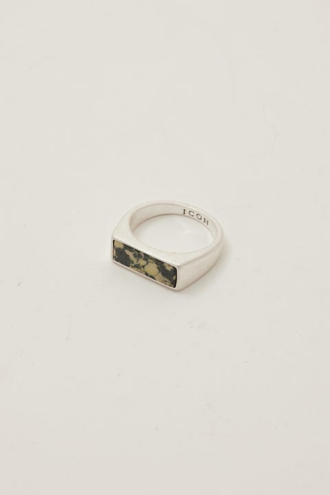 Icon Brand Desert Comrade Marbled Rectangle Ring Silver