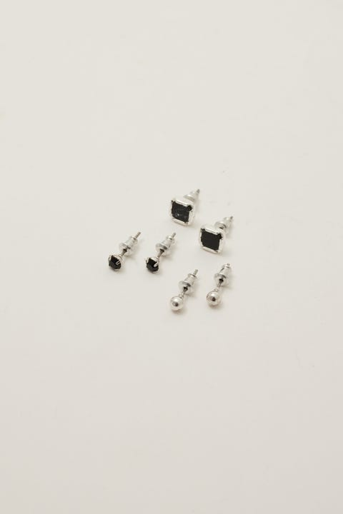 Icon Brand Deco Nuance 3 Pack Stud Earrings Silver