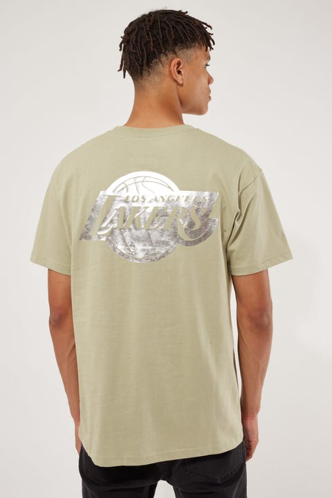 Mitchell & Ness Team Foil Lakers Logo Tee Olive Tea