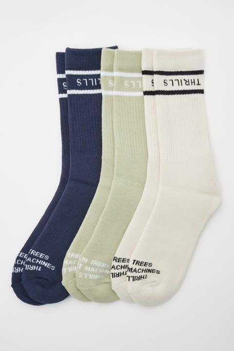 Thrills Minimal 3 Pack Socks Heritage White/Eucalyptus/Ink
