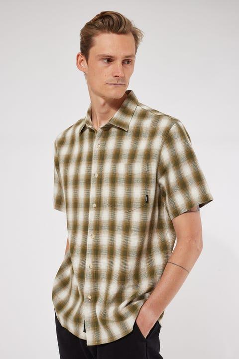 Thrills Angel Check Short Sleeve Shirt Dark Olive