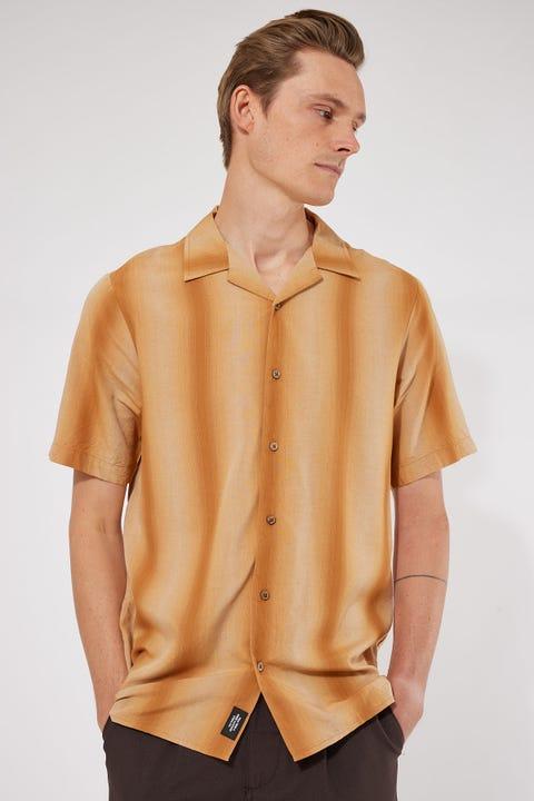 Thrills Fade To Black Bowling Shirt Dark Gold