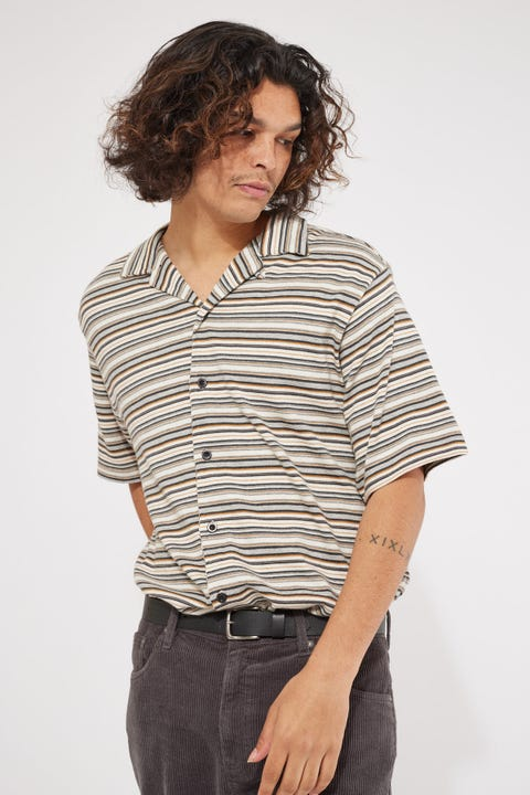 Thrills Indie Stripe Bowling Shirt Heritage White