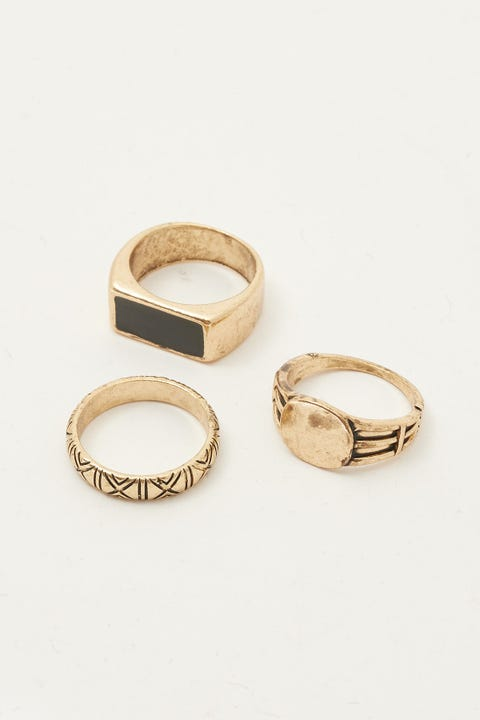Common Need Signet Ring 3 Pack Gold