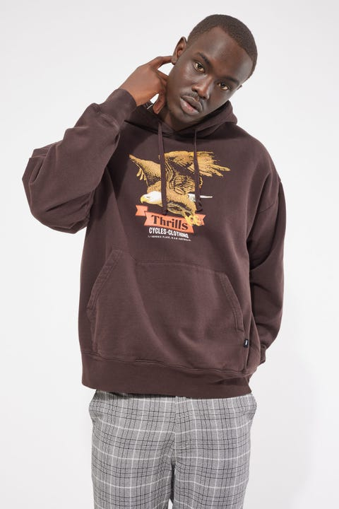 Thrills Eighty Three Slouch Pull On Hood Postal Brown