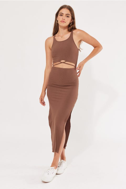 Luck & Trouble Muse Cut Out Dress Dark Brown