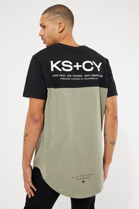 Kiss Chacey Live Fast Dual Curved Tee Black/Khaki