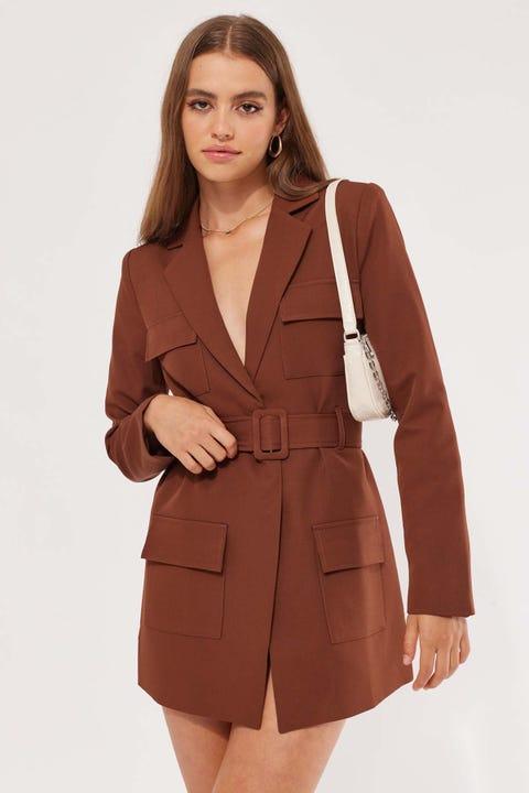 Lioness Steinway Mini Dress Brown